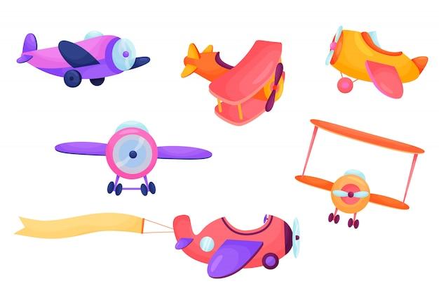 Ensemble d'avions cartonn mignon. transport des enfants. illustration