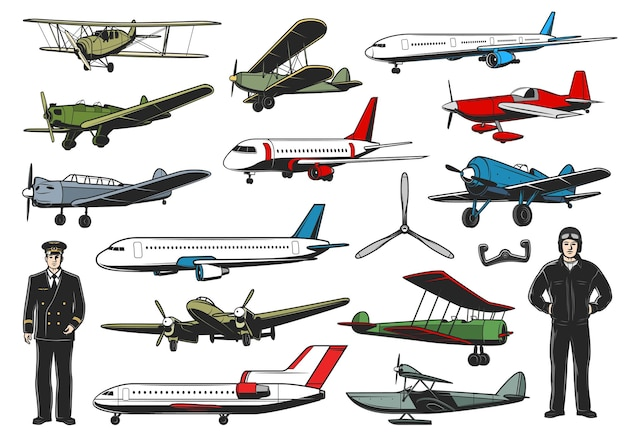 Ensemble d'avions modernes et vintage. caractère de pilote d'aviation civile et militaire. avions de ligne, chasseur ou bombardier biplan rétro de l'armée et hydravion avec mince, aviateurs en uniforme vecteur