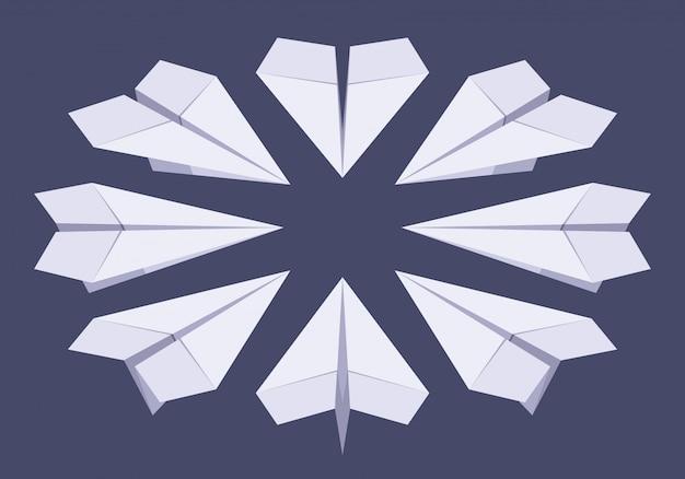 Ensemble des avions en papier blanc isométrique