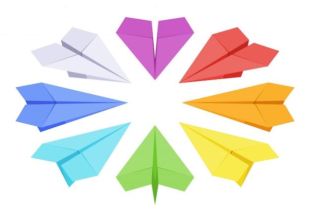 Ensemble des avions en papier de couleur isométrique