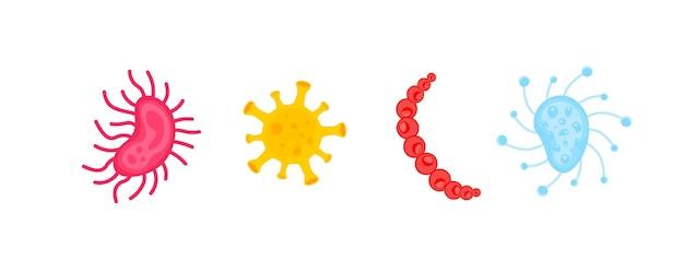 Ensemble de bactéries et de germes colorés icône de micro-organismes illustration de bactéries et d'allergènes d'organismes microbiens sur fond blanc