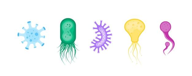 Ensemble de bactéries et germes colorés.