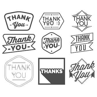 Ensemble de badge de remerciement et bannière isolé en blanc