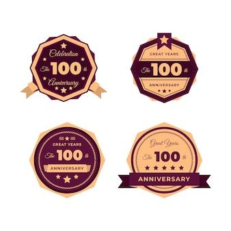 Ensemble de badges anniversaire cent ans