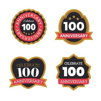 Ensemble de badges d'anniversaire de cent ans
