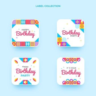 Ensemble de badges d'anniversaire en mosaïque plate