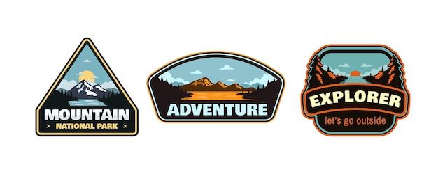 Ensemble de badges d'aventure en plein air patch emblème autocollant illustration vintage