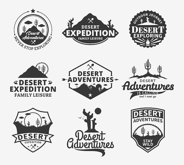 Ensemble de badges d'aventures dans le désert