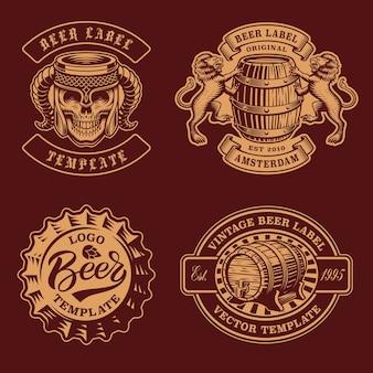 Ensemble de badges de bière vintage noir et blanc