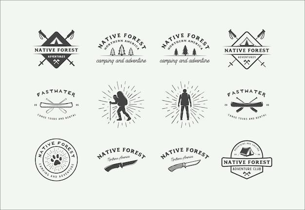 Ensemble de badges de camping en plein air et d'aventure vintage, étiquettes, emblèmes, marques et éléments de conception