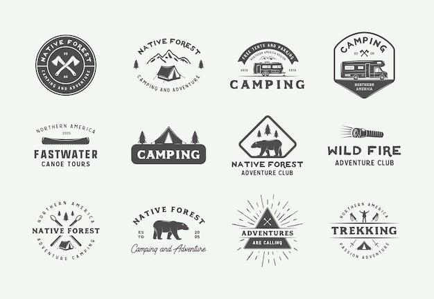 Ensemble de badges de camping en plein air et d'aventure vintage, étiquettes, emblèmes, marques