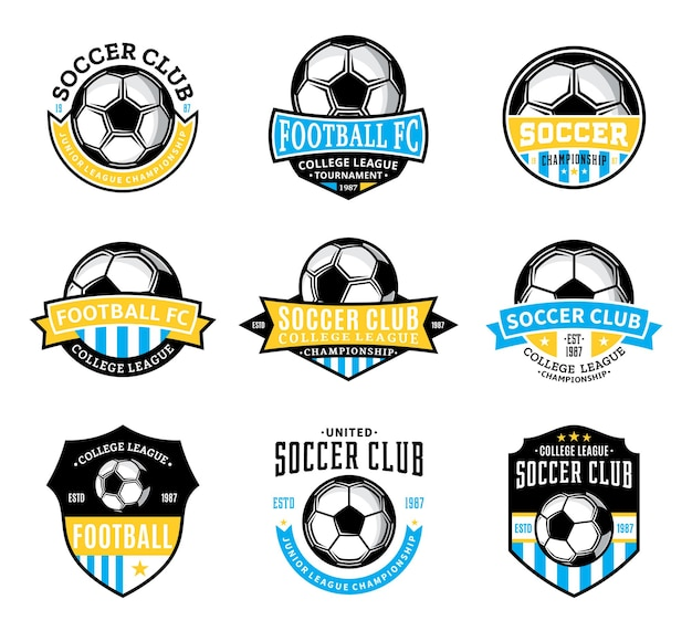 Ensemble de badges de club de football (soccer) de vecteur