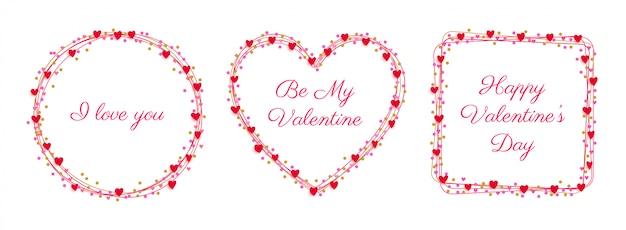 Ensemble de badges coeurs cadre saint valentin