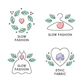 Ensemble de badges de concept de mode lente. style de ligne colorée mignon dessiné à la main. robe, cintre, coeur, symboles de couronne de feuilles. fabrication écologique, vêtements naturels et de haute qualité. illustration vectorielle