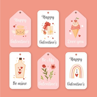 Ensemble de badges dessinés pour la saint-valentin