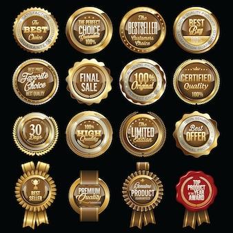 Ensemble de badges de détail marron or