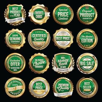 Ensemble de badges de détail vert or