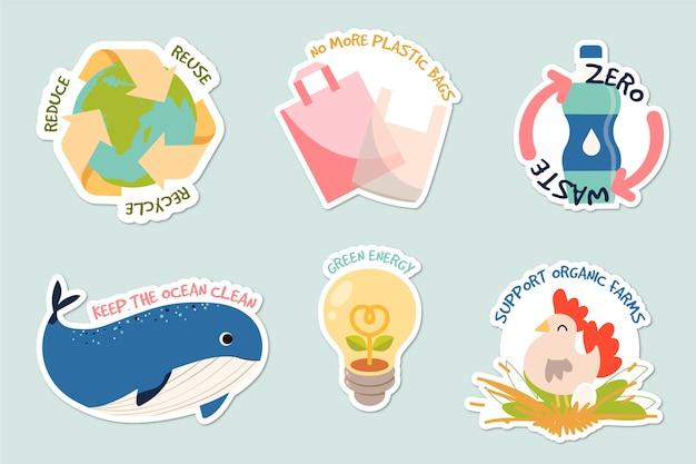 Ensemble de badges écologie dessinés à la main