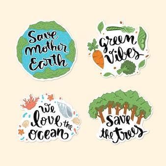 Ensemble de badges d'écologie dessinés à la main
