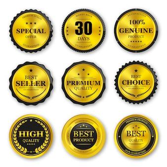 Ensemble de badges et étiquettes en or sceau de qualité supérieure
