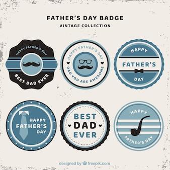 Ensemble de badges de fête des pères avec des éléments vintage