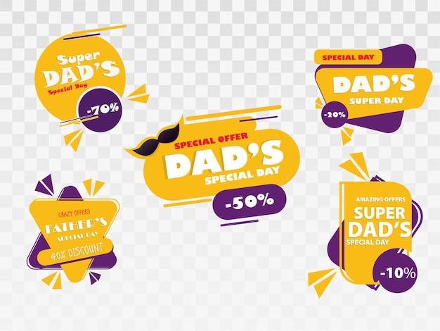 Ensemble de badges de fête des pères heureux