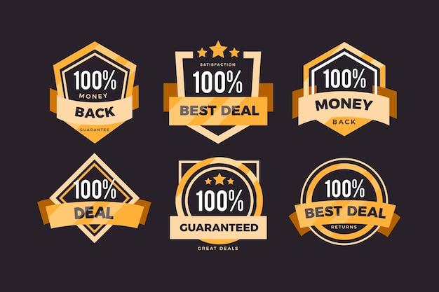 Ensemble de badges de garantie à cent pour cent