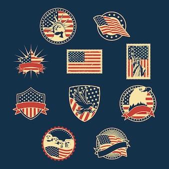 Ensemble de badges d'indépendance des états-unis