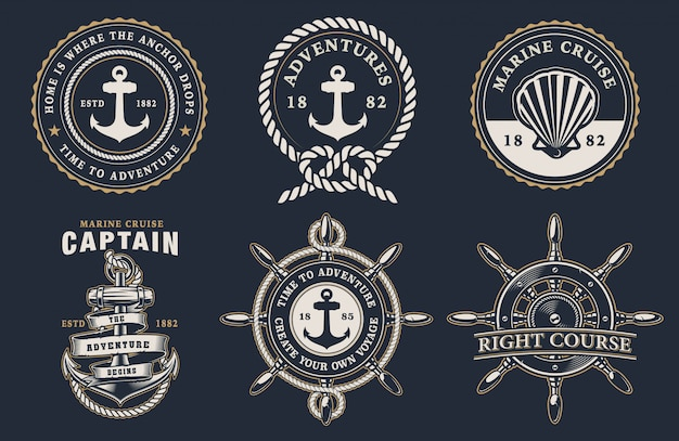 Ensemble de badges marins