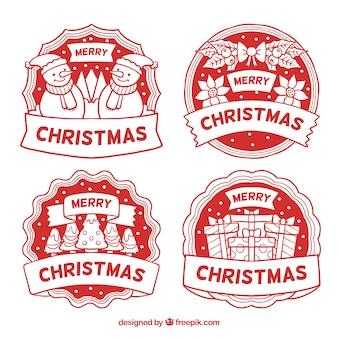 Ensemble de badges de noël dessinés à la main rouge