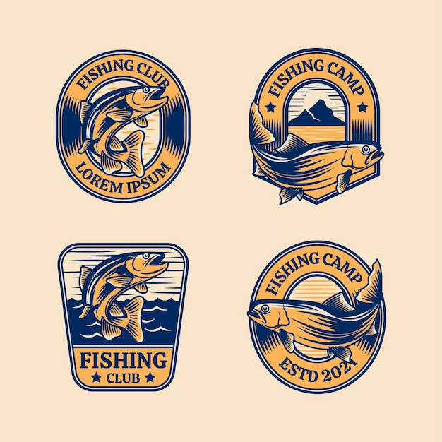 Ensemble de badges de pêche vintage