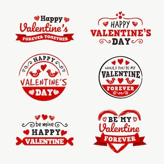 Ensemble de badges pour la saint-valentin design plat