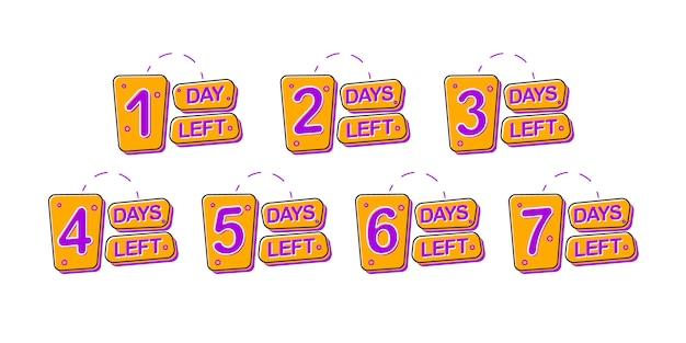 Ensemble de badges promotionnels avec 1, 2, 3, 4, 5, 6, 7 jours restants.