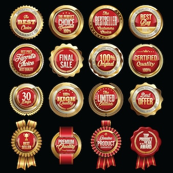 Ensemble de badges de qualité des ventes de luxe. mots clés.