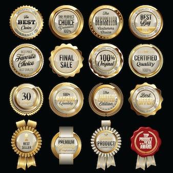 Ensemble de badges de qualité des ventes de luxe.