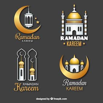 Ensemble de badges ramadan dans un style réaliste