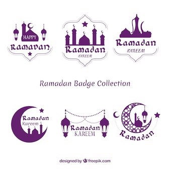 Ensemble de badges ramadan pourpre
