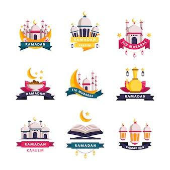 Ensemble de badges ramadhan kareem et création de logo