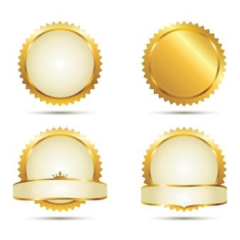 Ensemble de badges de sceau d'or