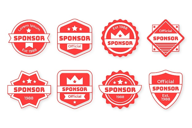Ensemble de badges de sponsor modernes