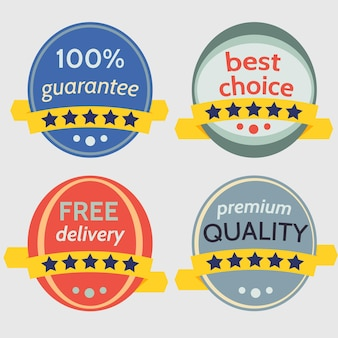 Ensemble de badges vectoriels avec des rubans. prêt pour votre texte ou votre conception. illustration vectorielle isolée.
