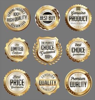 Ensemble de badges de vente au détail en or