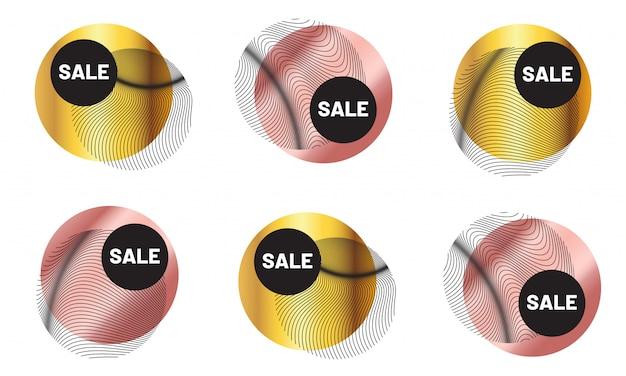 Ensemble de badges de vente géométriques de luxe. étiquettes de mode en or rose métallisé