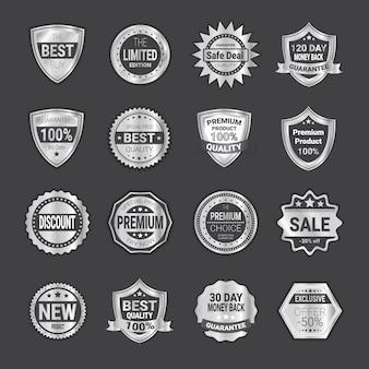 Ensemble de badges de vente shopping ou collection d'emblèmes de boucliers de haute qualité