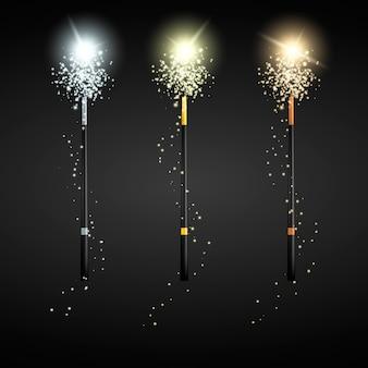 Ensemble de baguettes magiques. baguettes en or argent et bronze. illustration