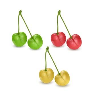 Ensemble de baies de cerises rouges, jaunes et vertes isolées.
