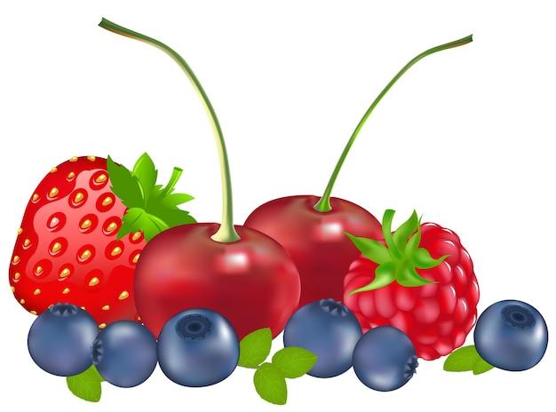 Ensemble de baies (fraise, myrtille, framboise, cerise), isolé sur blanc