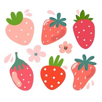 Ensemble de baies mignonnes de fraises dessinées à la main illustration moderne