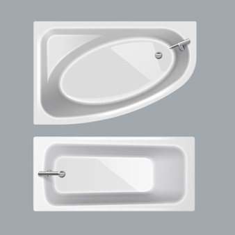 Ensemble de baignoires blanches de formes ovales rectangulaires et angulaires sur fond gris, vue du dessus