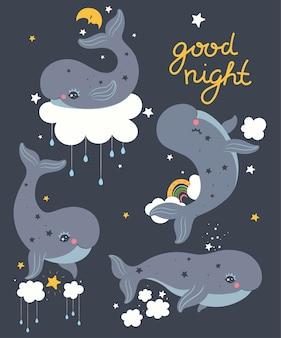 Ensemble de baleines mignonnes dans le ciel